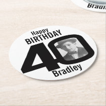 Happy birthday 40 name and photo paper coasters