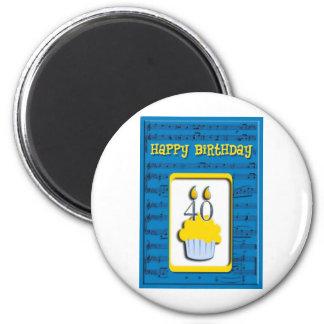 Happy Birthday 40th 2 Inch Round Magnet