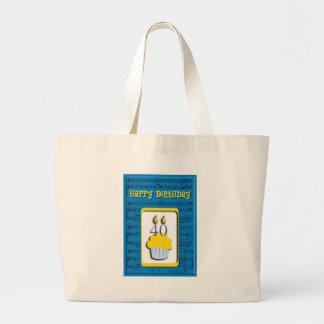 Happy Birthday 40th Large Tote Bag