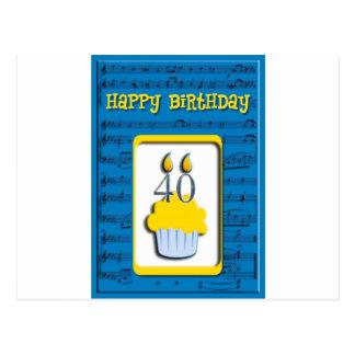 Happy Birthday 40th Postcard