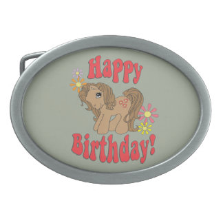 Happy Birthday 4 Oval Belt Buckle