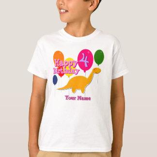 Happy Birthday 4 Years Balloons Dinosaurs T-Shirt