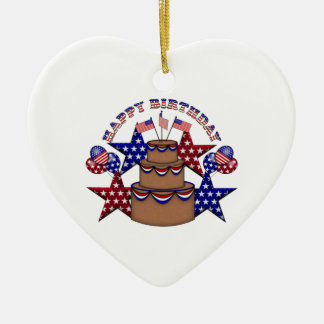 Happy Birthday 4th of July Double-Sided Heart Ceramic Christmas Ornament