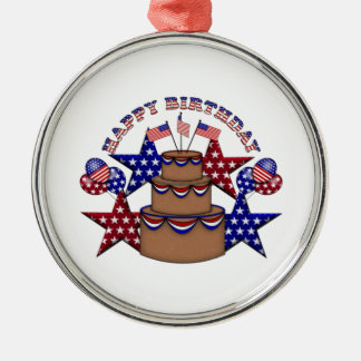 Happy Birthday 4th of July Round Metal Christmas Ornament