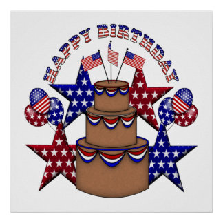 Happy Birthday 4th of July Poster