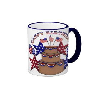 Happy Birthday 4th of July Ringer Mug