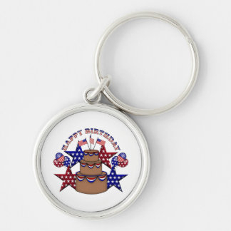 Happy Birthday 4th of July Silver-Colored Round Keychain