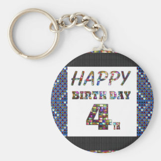 Happy Birthday 4th Text Basic Round Button Keychain