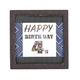 Happy Birthday 4th Text Gift Box