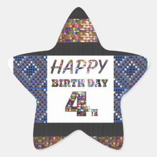 Happy Birthday 4th Text Star Sticker