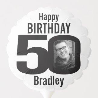 Happy birthday 50 custom name photo black white balloon