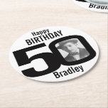 "Happy birthday 50 name and photo paper coasters<br><div class=""desc"">50th birthday party paper coasters. Great to add a personal touch to a surprise birthday party. Personalize with your birthday boys or girls photo in the 0 of 50 and personalize with your choice of name. Design by Sarah Trett.</div>"