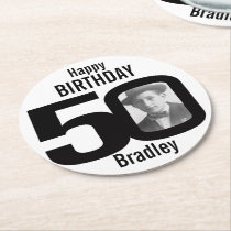 Happy birthday 50 name and photo paper coasters