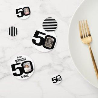 Happy birthday 50th name and photo paper confetti