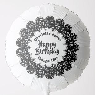 Happy Birthday 55th Black White Fun Party Pattern Balloon