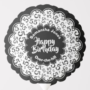 Happy Birthday 55th Black White Party Pattern Balloon