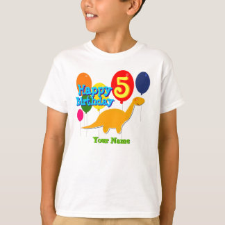 Happy Birthday 5 Years Party Balloons Dino T-Shirt