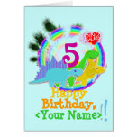 Happy Birthday 5 Years, Your Name Dinos Card
