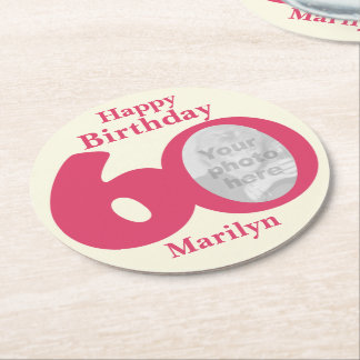 Happy birthday 60 name and photo paper coasters
