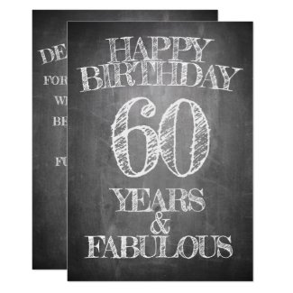 Happy Birthday - 60 Years & Fabulous Invitation