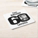 """Happy birthday 60th name and photo paper coasters<br><div class=""""desc"""">60th birthday party paper coasters. Great to add a personal touch to a surprise birthday party. Personalize with your birthday boys or girls photo in the 0 of 60 and personalize with your choice of name. Design by Sarah Trett.</div>"""