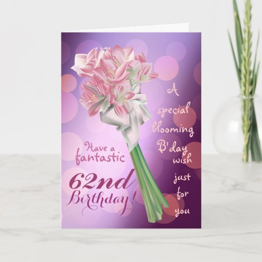 Happy birthday 62nd pink flowers greeting card zazzle happy birthday 62nd pink flowers greeting card m4hsunfo