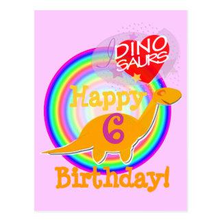 Happy Birthday 6 Dino Postcard