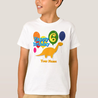 Happy Birthday 6 Years Party Balloons Dinosaur Tee
