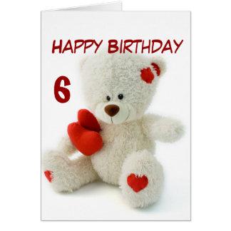 Happy Birthday 6th Teddy Bear Theme Card