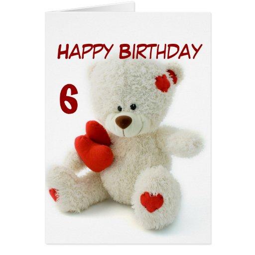 Happy Birthday 6th Teddy Bear Theme Cards