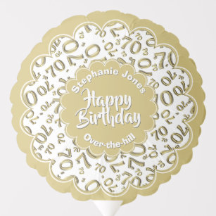 Happy Birthday 70th Gold White Fun Party Pattern Balloon