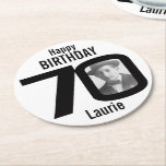 Happy Birthday 70th Name And Photo Paper Coasters at Zazzle