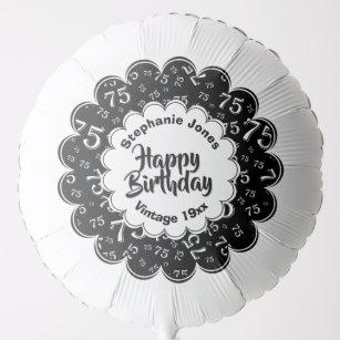 Happy Birthday 75th Black White Fun Party Pattern Balloon