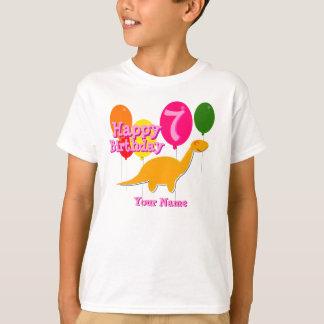 Happy Birthday 7 Years Party Balloon Dinosaurs Tee