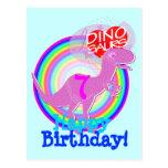 Happy Birthday 7 Years Purple T-Rex Dino Postcard
