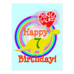 Happy Birthday 7 Years Yellow Dino Postcard