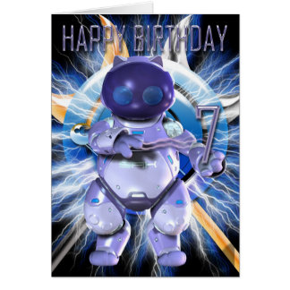 Happy Birthday 7th, Robot Kitty, Robot Cat Card