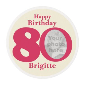 Happy birthday 80 name and photo frosting edible frosting rounds