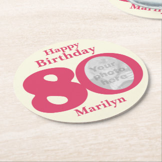 Happy birthday 80 name and photo paper coasters round paper coaster