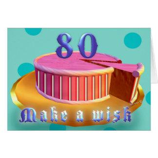 Happy Birthday 80 Pink Cake stripes Birthday Card