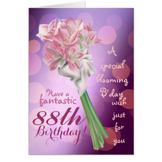 Happy Birthday ! - 88th pink flowers Greeting card