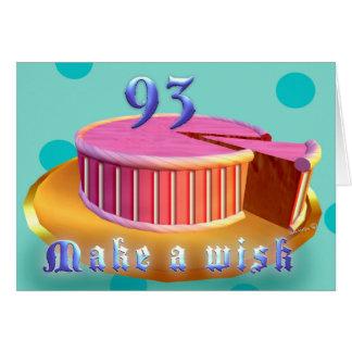 Happy Birthday 93 Pink Cake stripes Birthday Card