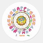 happy birthday Aaron Round Stickers