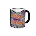 Happy Birthday Abstract Coffee Mugs