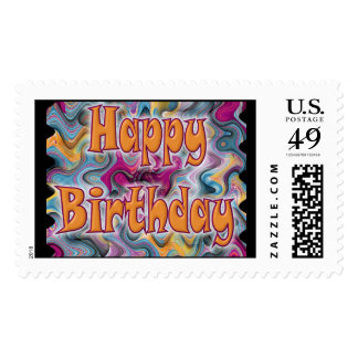 Happy Birthday Abstract Postage Stamp