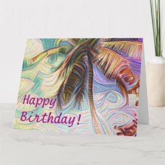 Happy Birthday Abstract Rainbow Palm Tree Card