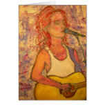happy birthday acoustic girl greeting card