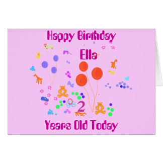Happy Birthday Add name 2 years old Card