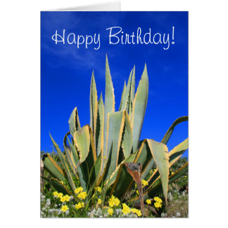 Happy Birthday Agave Plant greeting card