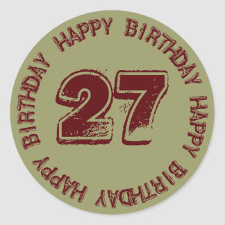 Happy Birthday Age Template Sticker for Him Round Stickers